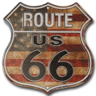 cedule Route 66 shield US Flag